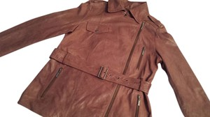 Cole Haan Hahn Leather Belted tan Leather Jacket