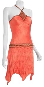 Ginger & Java 100% Silk Silk Coral Beaded Asymetrical Dress