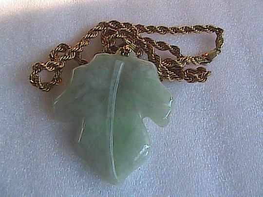 Unknown 14k & 10k Solid Yellow Gold Natural Green Jade Leaf Pendant Necklace