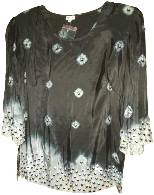 Moyna Black with Silver Beads Beaded Silk Blouse Size 8 (M) Moyna Black with Silver Beads Beaded Silk Blouse Size 8 (M) Image 1