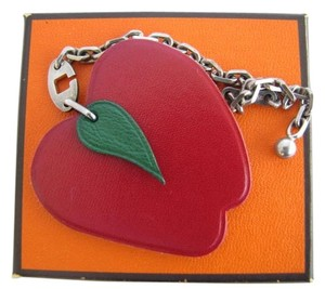 Hermès Red Apple Bag Charm Silver Chain For Birkin And Kelly bag