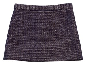 Alice + Olivia Navy Gold Tweed Mini Mini Skirt