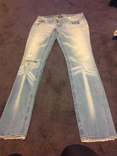 Express Studded Skinny Jeans-Light Wash