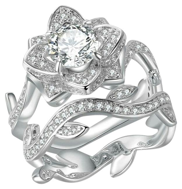 Cubic Zirconia Flower and Band Ring Cubic Zirconia Flower and Band Ring Image 1