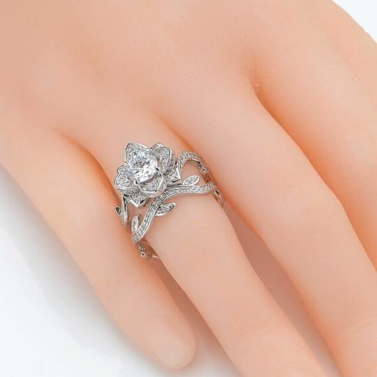 Other beautiful cubic zirconia flower ring and band Image 2