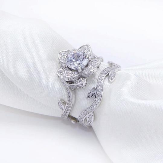 Other beautiful cubic zirconia flower ring and band Image 3
