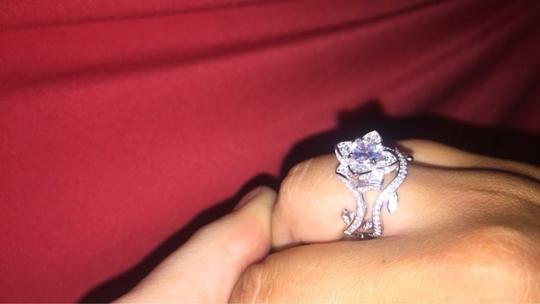 Other beautiful cubic zirconia flower ring and band Image 4