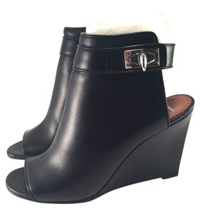 Givenchy Shark Tooth Lock Peep Ankle Black Wedges