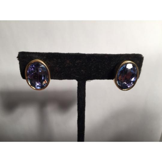 Givenchy Faceted Oval AMETHYST clip backs Image 1