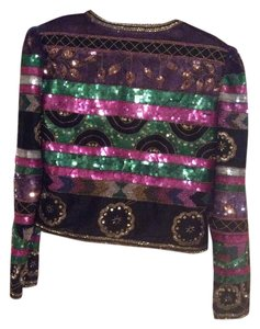 Laurence Kazar Puffed Sleeve Sequins Silk Multi Blazer