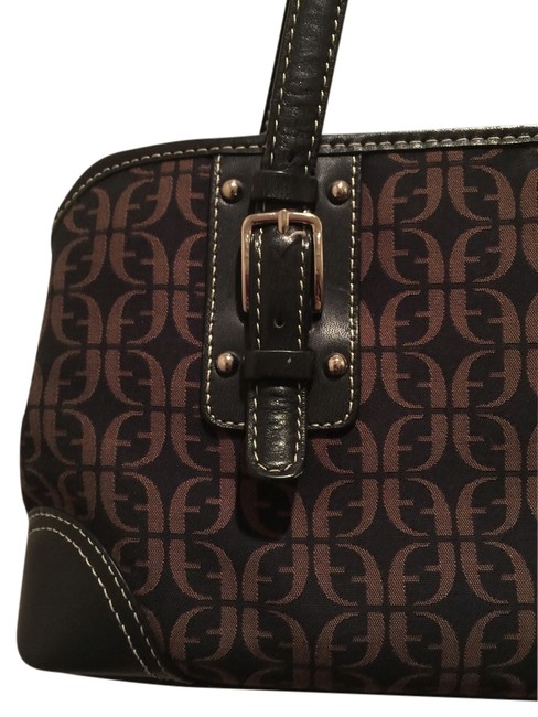 Fossil Purse Brown and Tan Leather Satchel Fossil Purse Brown and Tan Leather Satchel Image 1