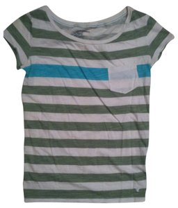 American Eagle Outfitters T Shirt Green/White/Turquoise