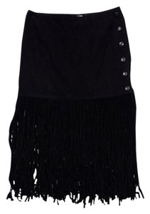 Saint Laurent Black Lamb Suede Fringe Fringe Skirt