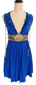 Meghan La Pleated Royalblue Kimoraleesimmons Celebrity Embellished Beaded Vneck Silk Gold Dress