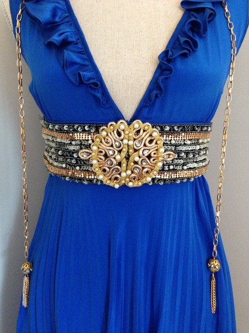 Meghan La Pleated Royalblue Kimoraleesimmons Celebrity Goddess Embellished Beaded Vneck Silk Gold Dress