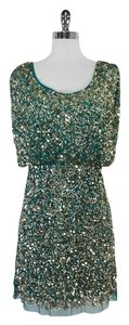 Aidan Mattox short dress Teal Gold Sequin on Tradesy