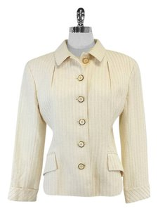 Valentino Cream Textured Silk Cotton Jacket