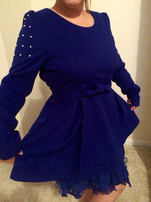 Altar'd State short dress Royal Blue Pear Pearl A-line Longsleeve Tiered Lace on Tradesy