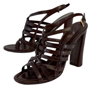 Prada Brown Leather Sandal Heels Sandals