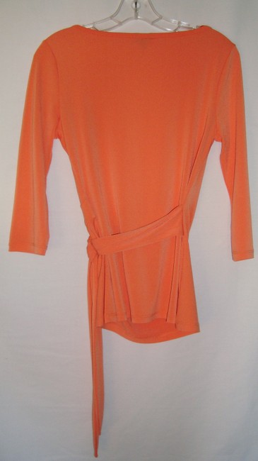 Ann Taylor Polyester Wrap Top Peach