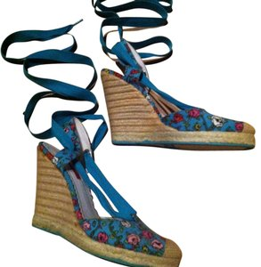 Betsey Johnson Espadrille Lace-up Blue Floral Wedges