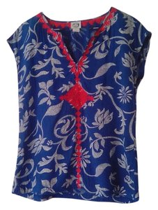 Lucky Brand Vintage Embroidered Light Top Blue