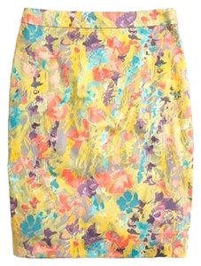J.Crew Paint Watercolor Florals Spring Springy Summer Work Sophisticated Pastel Skirt yellow, pink, blue, purple