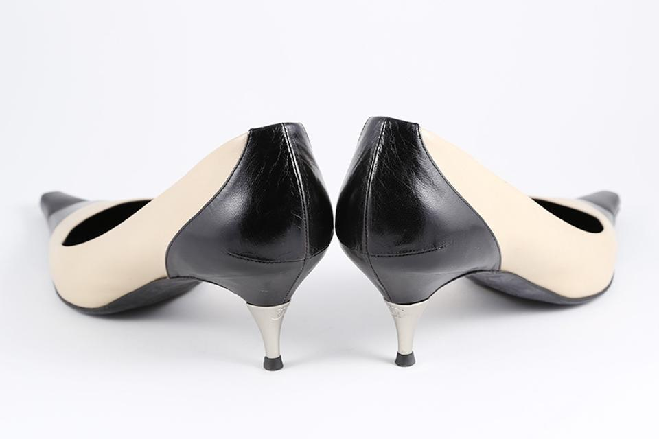 Chanel Tan/Black Pointed Toe Kitten Heels & Leather Pumps Size US ...