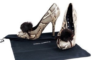 Dolce&Gabbana Brown Leather Snakeskin Brown/Cream Platforms