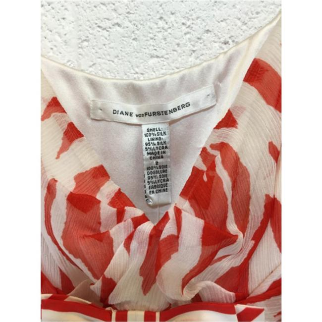 Diane von Furstenberg Silk Print Orange White Dress Image 3