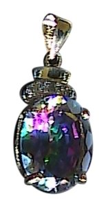 Unknown 10k Solid Yellow Gold 5.2 cts Mystic Topaz & Diamond Pendant
