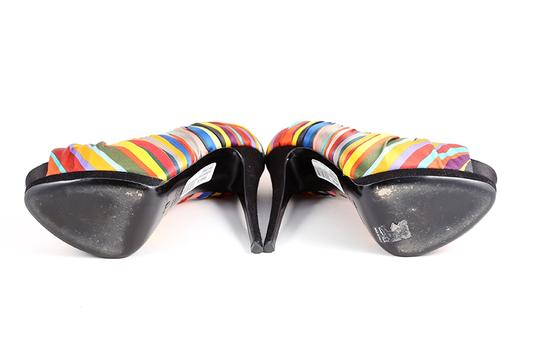 Giuseppe Zanotti Striped Peep Toe Multicolor Platforms Image 6