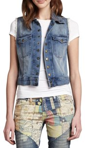 Current/Elliott Vest Sleeveless Frayed Womens Jean Jacket