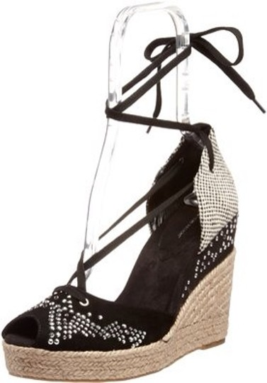 BCBGeneration Black Beige Silver Tan Wedges