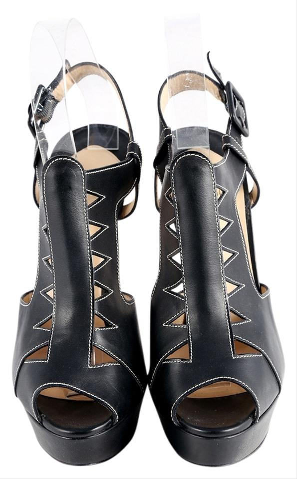 Christian Volnay Louboutin Black * Leather Volnay Christian 140 Sandals Heels Platforms a4e711