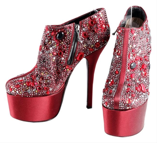 Dolce&Gabbana Red Jeweled Embellished Platform Ankle Boots/Booties Size US 9 Regular (M, B) Dolce&Gabbana Red Jeweled Embellished Platform Ankle Boots/Booties Size US 9 Regular (M, B) Image 1