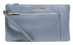 Michael Kors Pale Leather Riley Blue Clutch