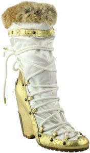 Vicini Winter Wedges Leather Giuseppe Zanotti White/Gold Boots