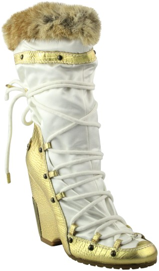 Vicini Winter Wedges Leather Giuseppe Zanotti White/Gold Boots Image 0