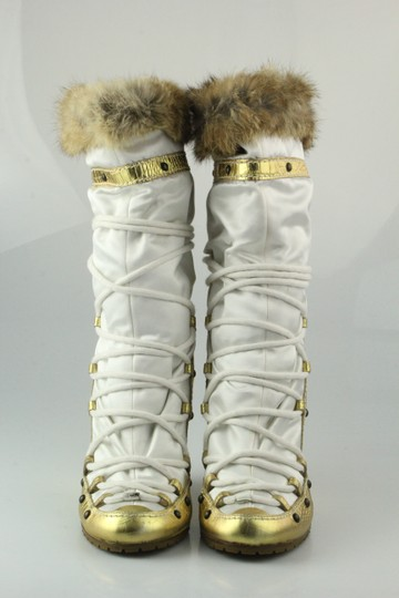 Vicini Winter Wedges Leather Giuseppe Zanotti White/Gold Boots Image 1