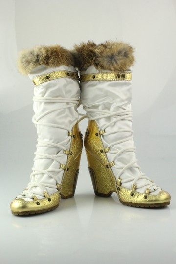 Vicini Winter Wedges Leather Giuseppe Zanotti White/Gold Boots Image 3