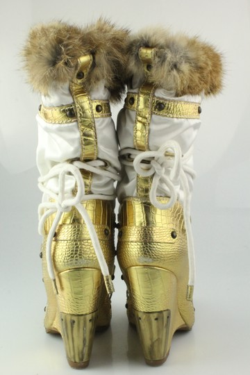 Vicini Winter Wedges Leather Giuseppe Zanotti White/Gold Boots Image 8
