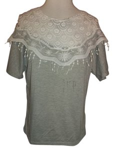 L Show Lace Short Sleeve Soft Pullover Top Grey