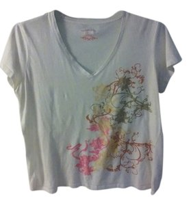 Izod T Shirt White with multi-color designs on left side
