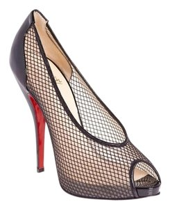 Christian Louboutin Patent Patent Leather Stiletto Peep Toe Lace Fishnet Fetilo Textured Embellished New So Kate Pigalle Red Sole Sexy 6.5 Black Pumps