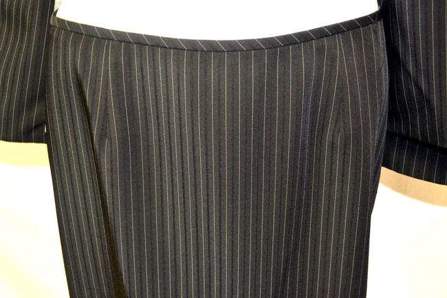 Elie Tahari Tahari 2 Piece Smoke Gray with Beige Stripes Skirt Suit Size 8