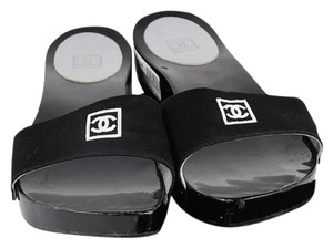 Chanel Wooden Silver Harware Black Sandals