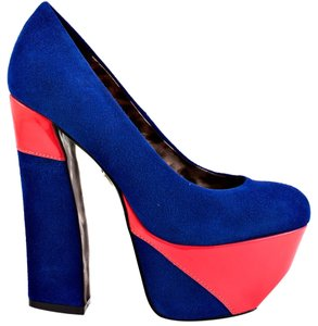 Betsey Johnson Foxeyy Suede Size 5 Blue / Pink Platforms