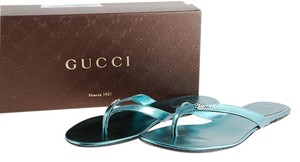 Gucci Satin Flip Flops Sandals Blue Flats