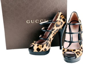Gucci Leopard Peep Toe Pumps Black Leather Fur Multicolor Platforms